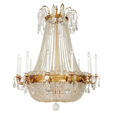 French Bronze Empire-style Glass Chandelier (c.1880)