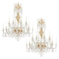 Unique Large Pair of 19th Century Style English Cut Glass chandeliers