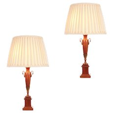 Pair of English Classical Greek Empire Revival Table Lamps