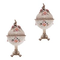 Beautifully decorated pair of latticework Capodimonte potpourri vases