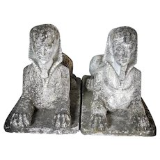 Pair of sphinx in casted stone