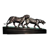 Pair of lionesses, Art Déco