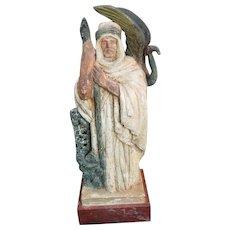 Sculpture of a Bedouin with ibis bird