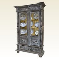 Carved French Oak Display Cabinet