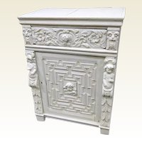 Cement Encrusted Renaissance Style Oak Cabinet