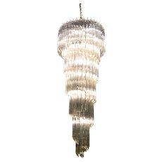 Mid Century Spiral Glass Chadelier