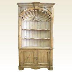 Barrel Back Pine Corner Cabinet