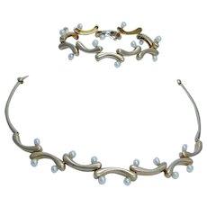 Akiyo Matsuoka Pearl Necklace Bracelet Set 18K Gold