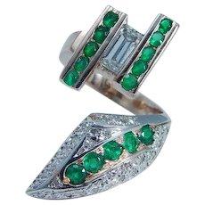 Emerald Diamond Snake Serpent Ring 14K Pink Gold