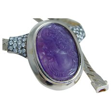 Carved Amethyst Cameo Diamond Slide Necklace 14KYG
