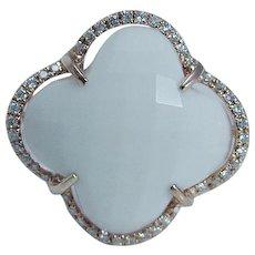 Clover Alhambra White Agate Diamond Rose Gold Ring