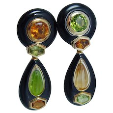 Sabbadini Convertible Earrings, Onyx Peridot Citrine 18K Gold, Milan