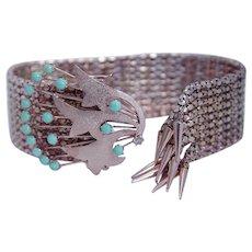 Antique Diamond & Turquoise Bracelet, Rose Gold Tassel Mesh