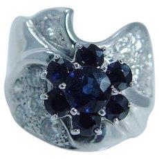 Pasdera Sapphire Diamond Cocktail Ring 14K White Gold Signed Blue Gems