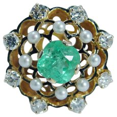 Colombian Emerald Diamond Pearl Enamel Ring 14K Gold