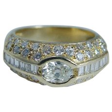 Diamond Ring Band Old Euro cut 18KYG