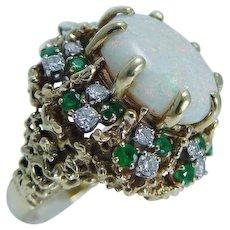 Opal Cabochon Emerald & Diamond Ring, 18K Gold
