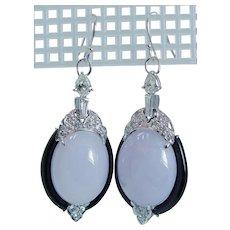 Diamond Onyx Chalcedony Dangle Earrings 14KWG