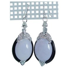 Diamond Onyx Chalcedony Dangle Earrings 14KWG