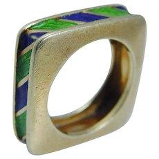 Tiffany&Co Ring Blue Green Enamel Square Band 18K Gold