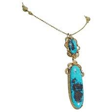 Turquoise Diamond Necklace 14K Gold