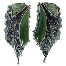 Zolotas or Lalaounis 22K Gold Sterling Silver Green Chrysoprase Huge Earrings