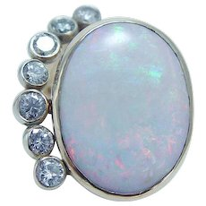 Opal Diamond Cocktail Ring 14KYG Large