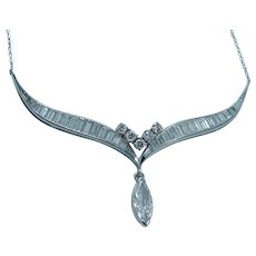 Diamond Platinum Necklace  2.33cttw Marquise Round Baguette