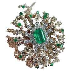 Emerald Diamond Gold Brooch Pendant/ Pin