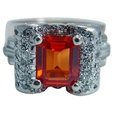 Mexican Opal Diamond Scrolls Ring 14K Rose Pink Gold Retro