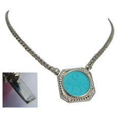 Turquoise Diamond Choker Necklace Birds Gold