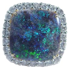 Black Opal Diamond Ring Large Cocktail Square Gold
