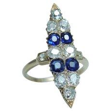 Ceylon Sapphire Diamond Ring Antique Old Mine cut 14KYG