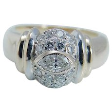Fred Paris Diamond Ring 18K Yellow Gold Platinum