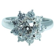 2.15cttw Diamond Engagement Ring Platinum Old European cut in the Center