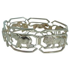 Diamond Bracelet Zoo Animals Lion Giraffe Elephant Zebra Jaguar 14KYG