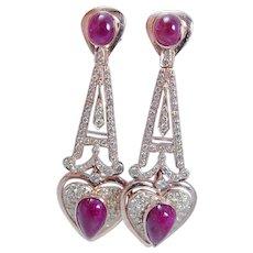 Diamond Ruby Earrings 18K Rose Gold