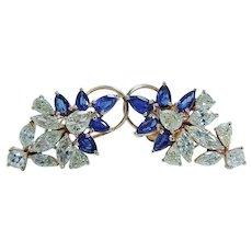 Diamond Sapphire Earrings Omega Screw Backs 14KYG