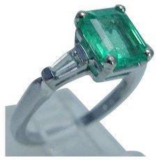 Colombian Emerald Diamond Ring Platinum