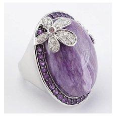 Russian Charoite Diamond Amethyst Flower Cocktail Ring 14KWG