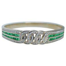 Colombian Emerald Diamond Bangle Bracelet 18K Yellow Gold Natural Gemstones