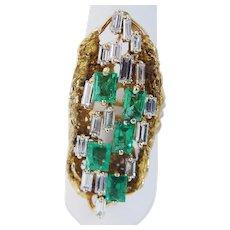 Mid-Century Colombian Emerald Diamond Ring 18K Yellow Gold