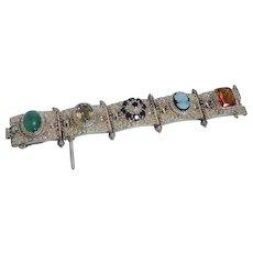 Huge Bracelet Quartz Cameo Garnet Imperial Topaz Jade  14KYG
