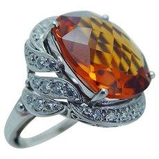 Imperial Topaz Old Mine Diamond Ring