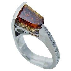 Imperial Topaz Diamond Ring Platinum JD Jewelry Designs