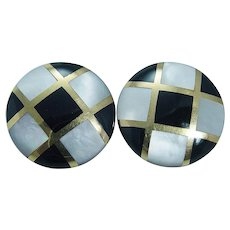Tiffany Angela Cummings Earrings Black Onyx Inlaid Mother Pearl 18K Gold