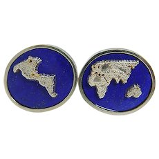 EDS Lapis Lazuli Earth Continents Cufflinks 18.5g 14K Yellow Gold Vintage Signed