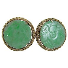 Jade Cufflinks Green Carved 14KYG
