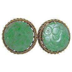 Jade Cufflinks Green Carved 14KYG