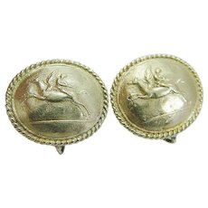 Kanaris Earrings Pegasus Perseus 18K Gold Clips Greek